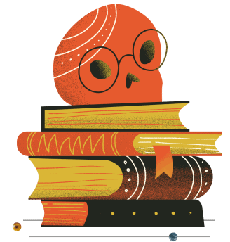 Illustration of skull with glasses on top of a stack of books