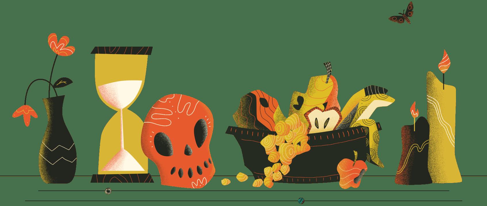 Illustration of vase, hourglass, skull, rotting fruit, moth and burning candles