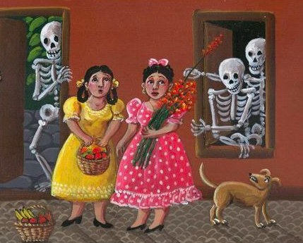 Artistic rendering of two nervous girls (one wearing a yellow dress and the other pink) and a brown dog being flirtatiously taunted by three skeletons behind them.