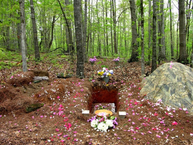 Photo of a natural burial plot in a green wooded area. There are flowers placed at either end of the plot as well as flower petals scattered around the dirt.