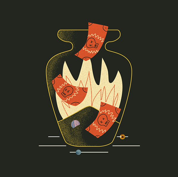Illustration of money being burnt in an urn