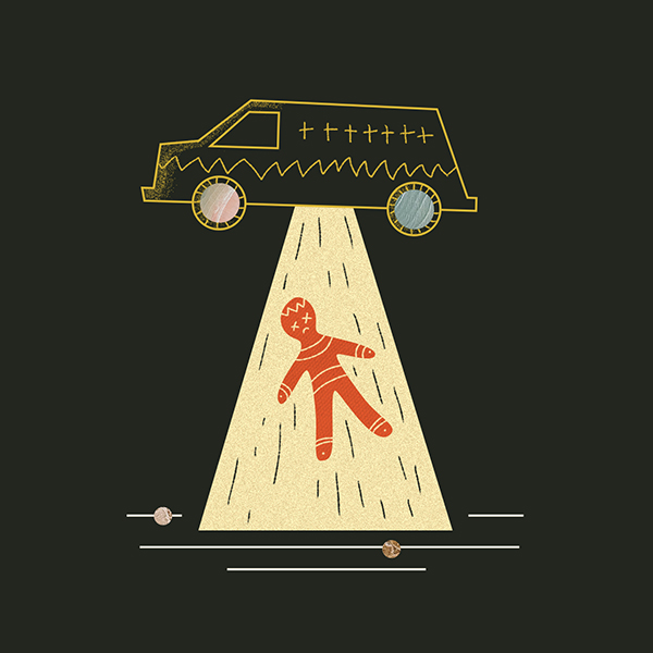 Illustration of funeral van abducting a corpse like a U.F.O