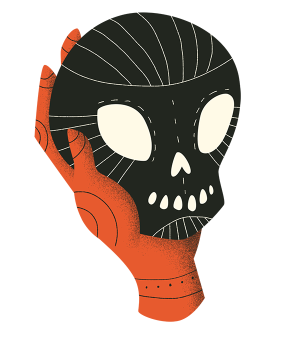 Illustration of a red hand holding a black skull.